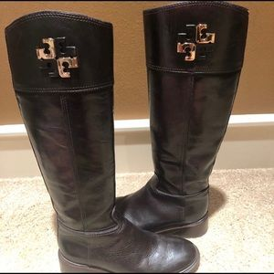 Tory Burch || Dark Brown With Gold Talk Boots